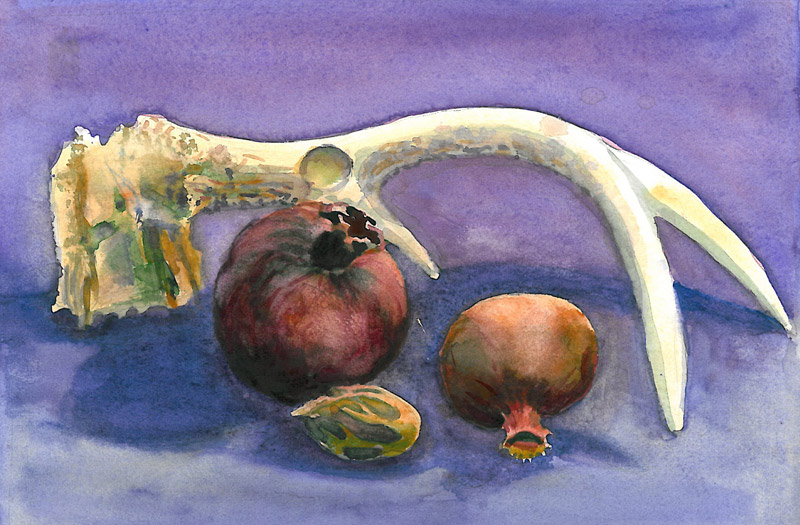 Antler and Pomegranate on a Blue Field